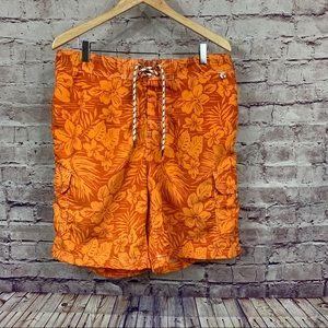 Lands End Mens Orange Floral Swim Shorts
